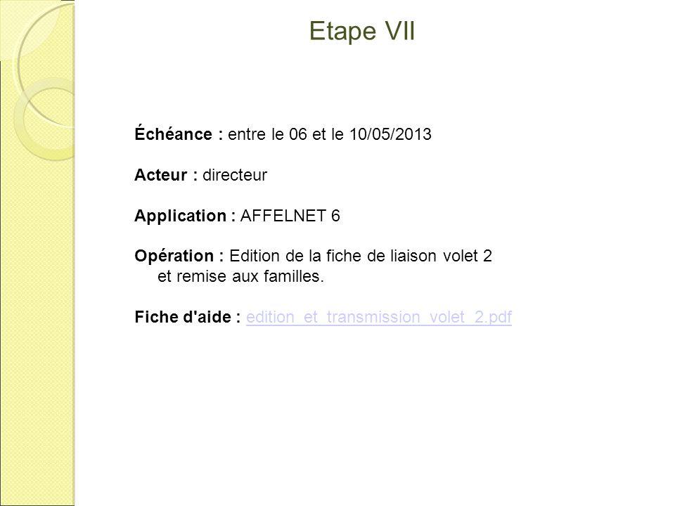 Etape VII Échéance : entre le 06 et le 10/05/2013 Acteur : directeur