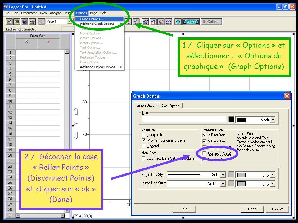 1 / Cliquer sur « Options » et sélectionner : « Options du graphique » (Graph Options)