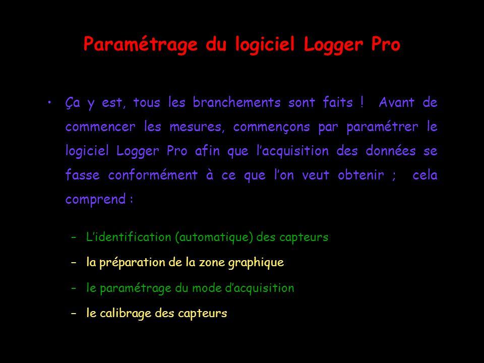 Paramétrage du logiciel Logger Pro
