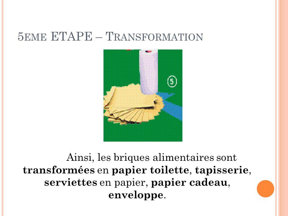 5eme ETAPE – Transformation