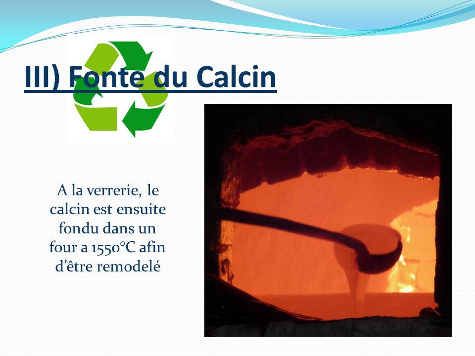 III) Fonte du Calcin A la verrerie, le calcin est ensuite fondu dans un four a 1550°C afin d'être remodelé.