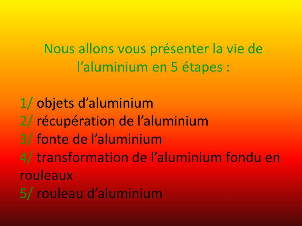 Nous allons vous présenter la vie de l'aluminium en 5 étapes :