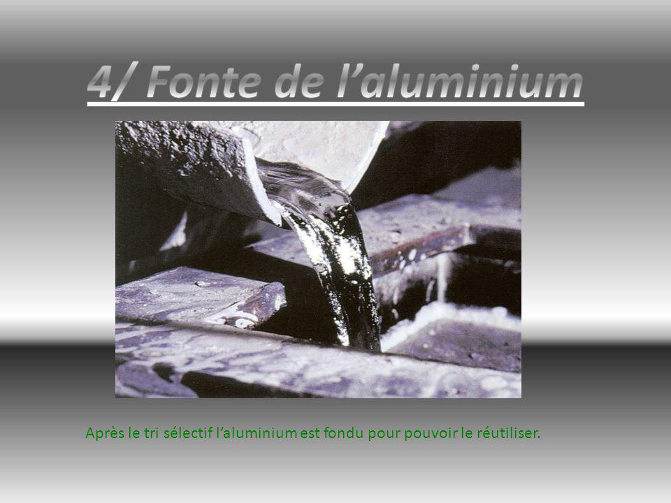 4/ Fonte de l'aluminium Après le tri sélectif l'aluminium est fondu pour pouvoir le réutiliser.