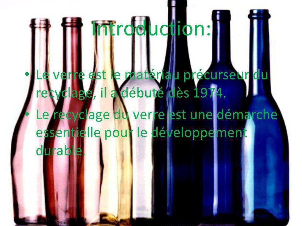 Introduction: Le verre est le matériau précurseur du recyclage, il a débuté dès 1974.