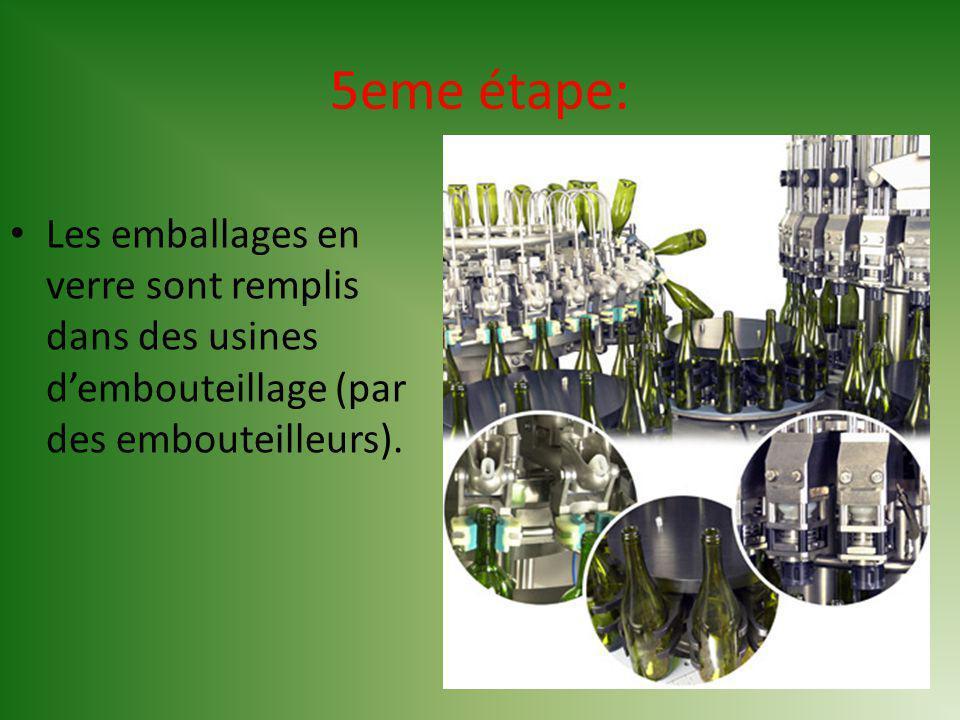 5eme étape: Les emballages en verre sont remplis dans des usines d'embouteillage (par des embouteilleurs).