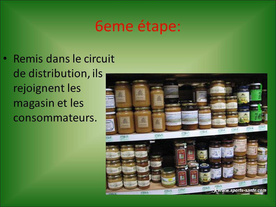 6eme étape: Remis dans le circuit de distribution, ils rejoignent les magasin et les consommateurs.