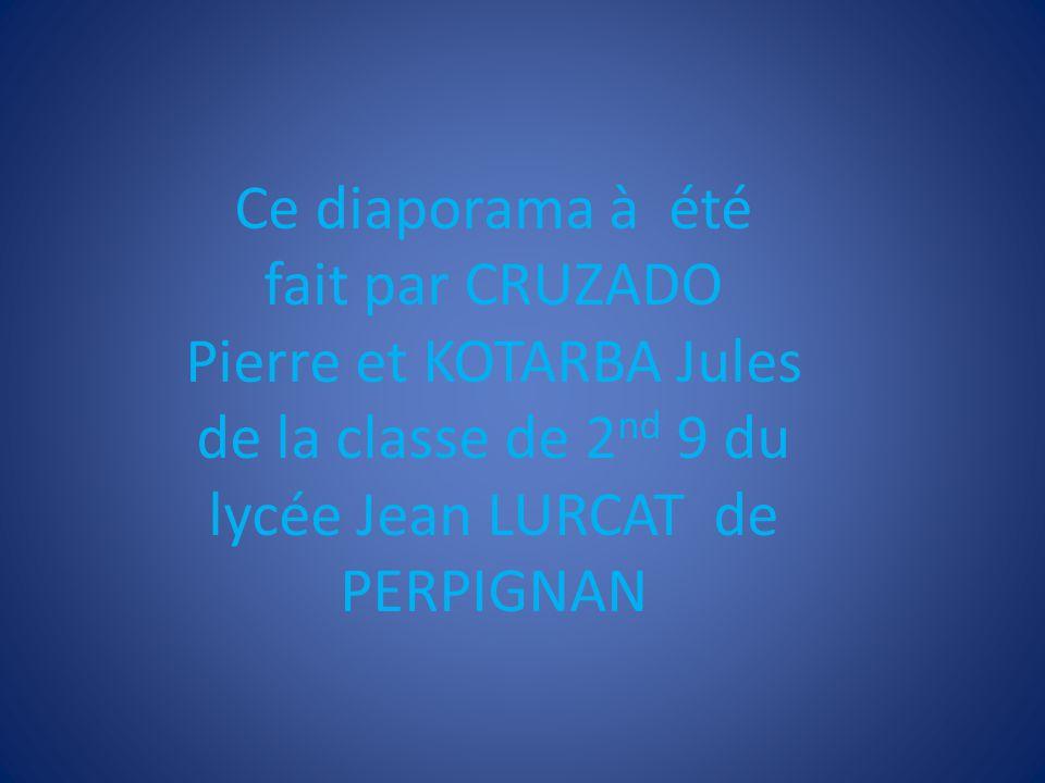 Ce diaporama à été fait par CRUZADO Pierre et KOTARBA Jules de la classe de 2nd 9 du lycée Jean LURCAT de PERPIGNAN