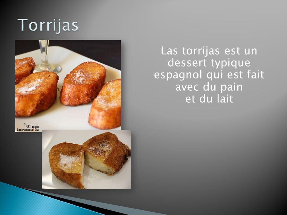 Torrijas Las torrijas est un dessert typique espagnol qui est fait avec du pain et du lait
