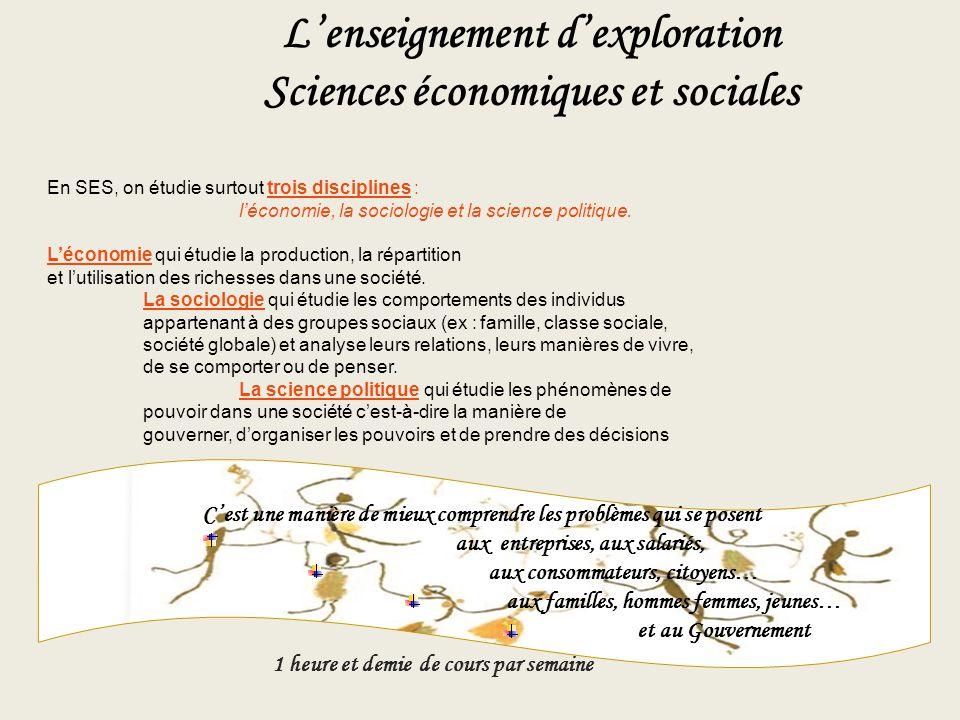 L'enseignement d'exploration Sciences économiques et sociales