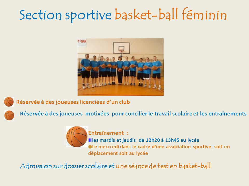 Section sportive basket-ball féminin