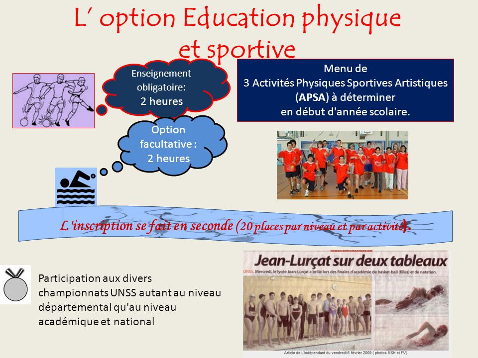 L' option Education physique et sportive