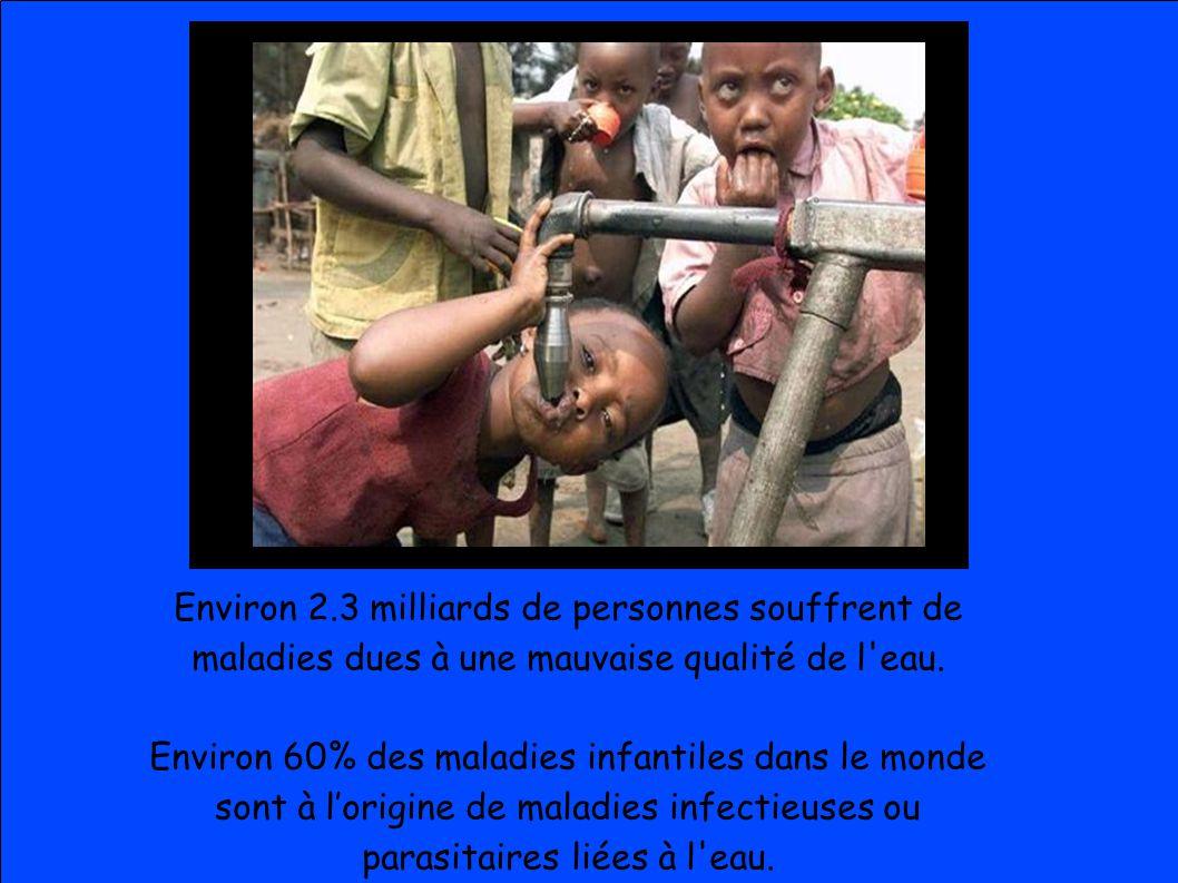 Environ 2.3 milliards de personnes souffrent de maladies dues à une mauvaise qualité de l eau.