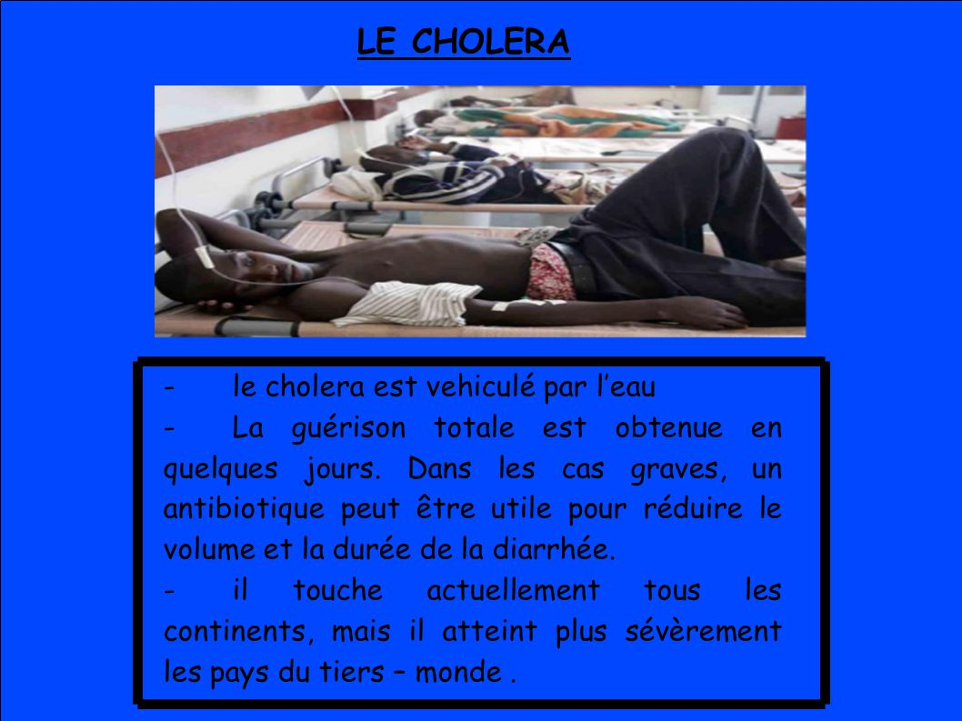LE CHOLERA - le cholera est vehiculé par l'eau