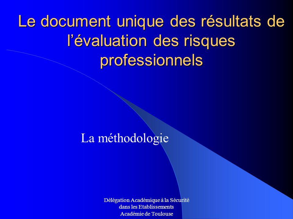 Le document unique des résultats de l'évaluation des risques professionnels