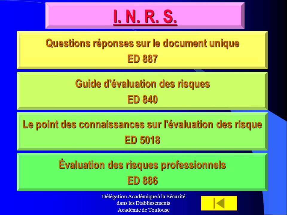 I. N. R. S. Questions réponses sur le document unique ED 887
