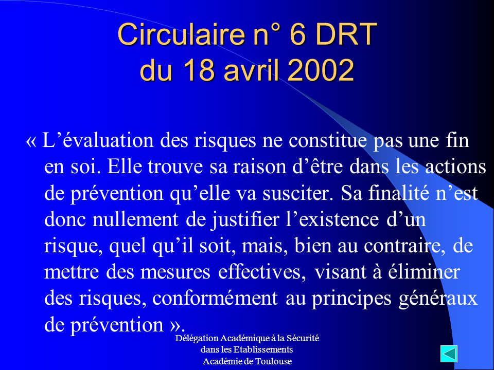 Circulaire n° 6 DRT du 18 avril 2002