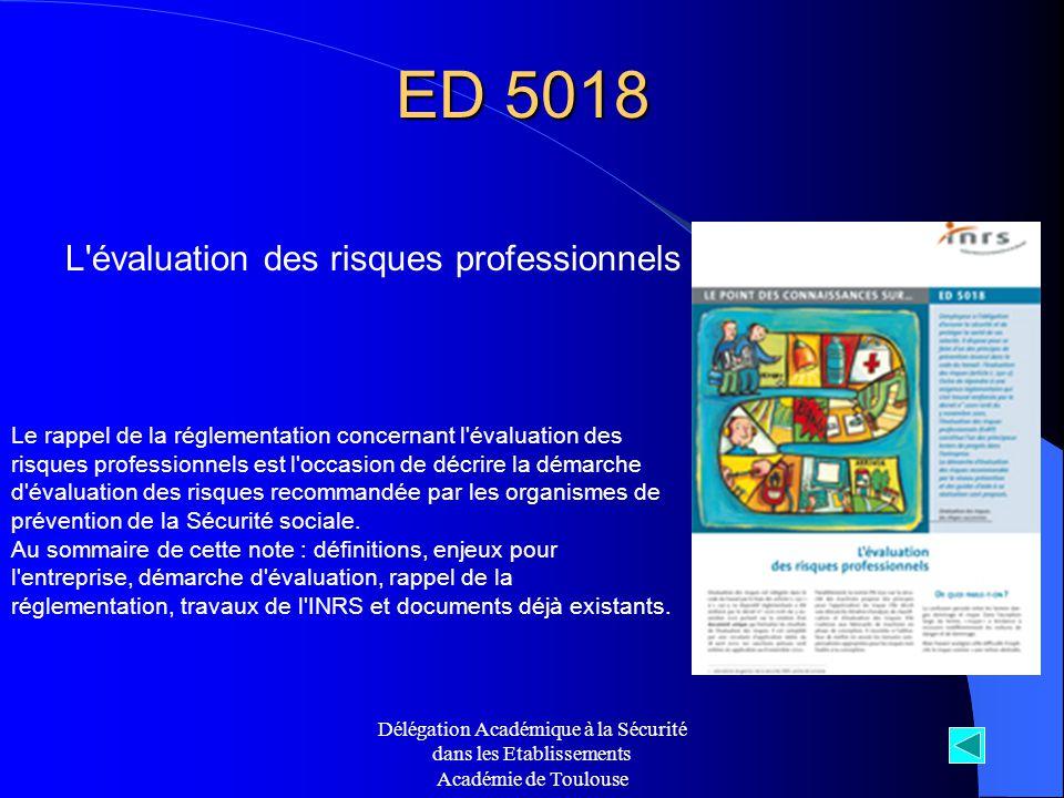 ED 5018 L évaluation des risques professionnels