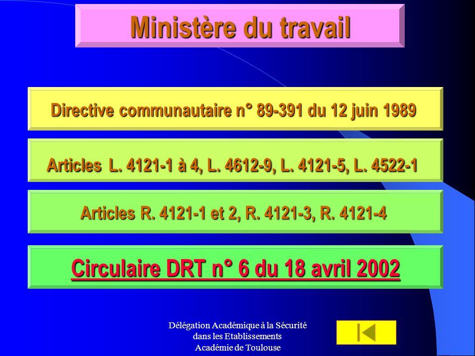 Ministère du travail Circulaire DRT n° 6 du 18 avril 2002