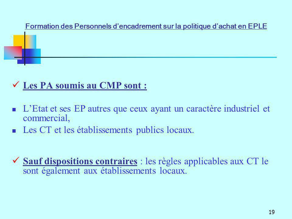 Les PA soumis au CMP sont :