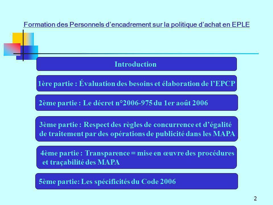 1ère partie : Évaluation des besoins et élaboration de l'EPCP