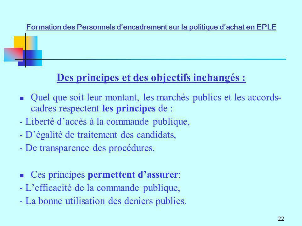 Des principes et des objectifs inchangés :