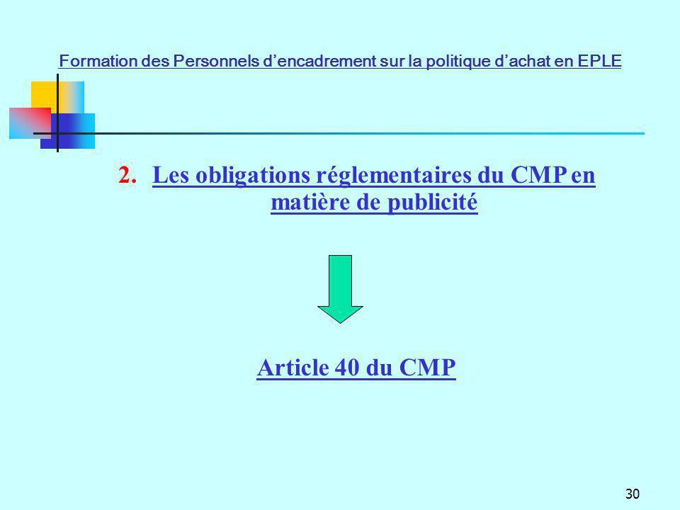 Les obligations réglementaires du CMP en matière de publicité