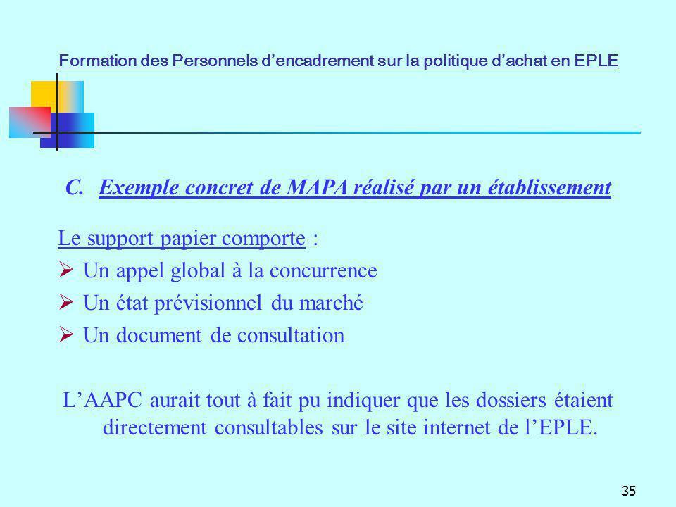 Exemple concret de MAPA réalisé par un établissement