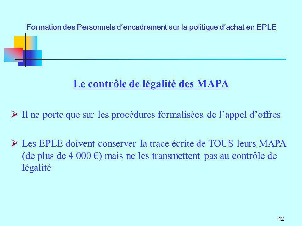 Le contrôle de légalité des MAPA