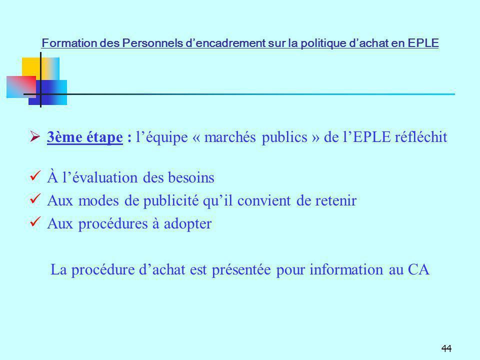 La procédure d'achat est présentée pour information au CA