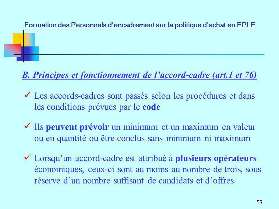 B. Principes et fonctionnement de l'accord-cadre (art.1 et 76)