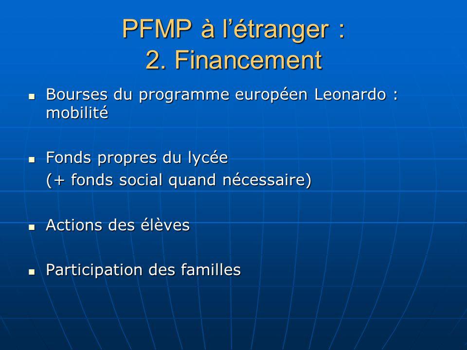 PFMP à l'étranger : 2. Financement