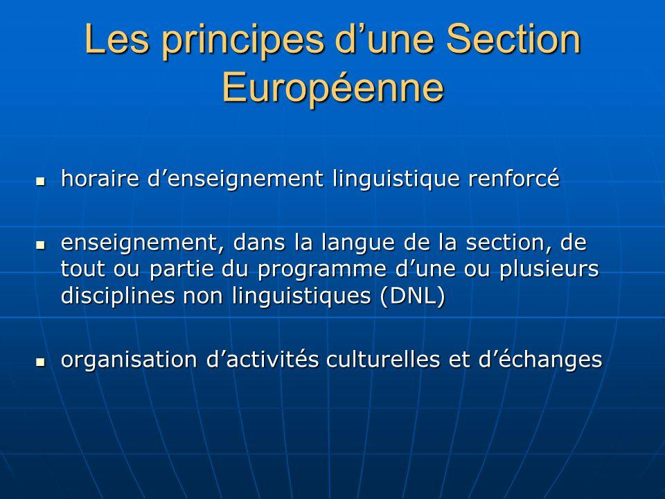 Les principes d'une Section Européenne