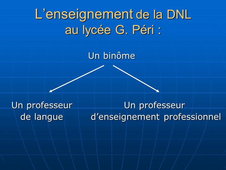 L'enseignement de la DNL au lycée G. Péri :