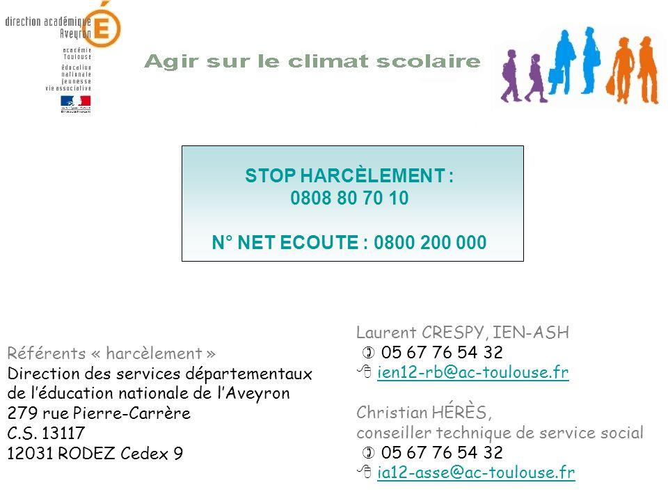 STOP HARCÈLEMENT : 0808 80 70 10 N° NET ECOUTE : 0800 200 000