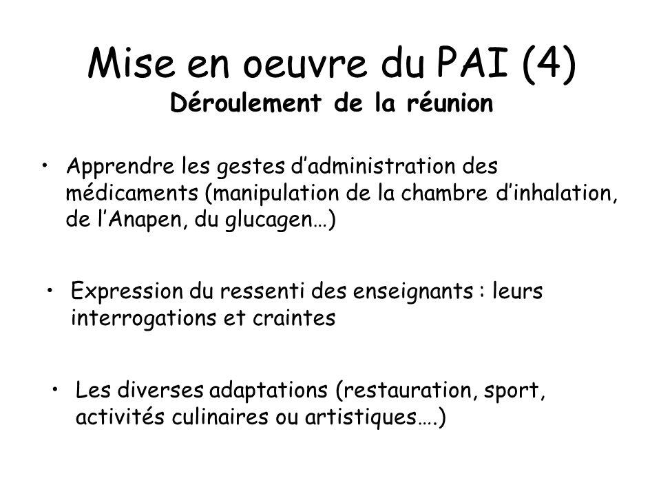 Mise en oeuvre du PAI (4) Déroulement de la réunion