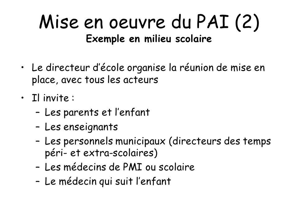 Mise en oeuvre du PAI (2) Exemple en milieu scolaire