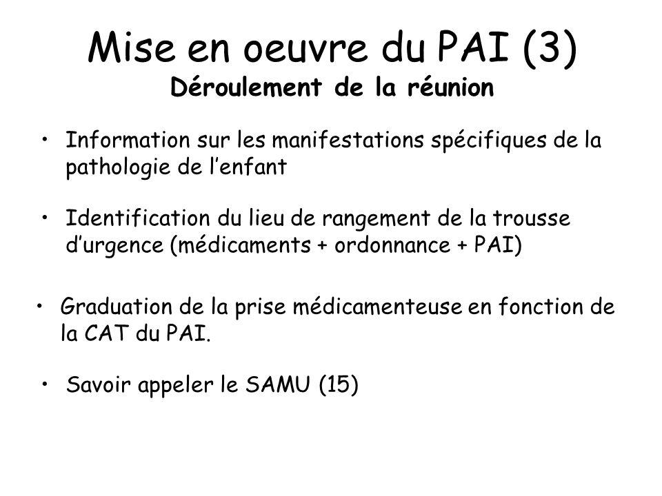 Mise en oeuvre du PAI (3) Déroulement de la réunion