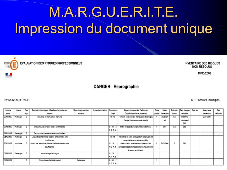 M.A.R.G.U.E.R.I.T.E. Impression du document unique