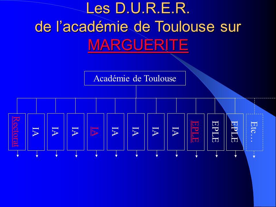Les D.U.R.E.R. de l'académie de Toulouse sur MARGUERITE