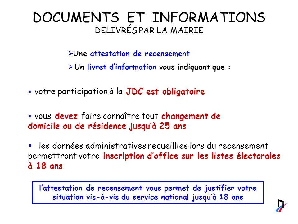 DOCUMENTS ET INFORMATIONS DELIVRÉS PAR LA MAIRIE