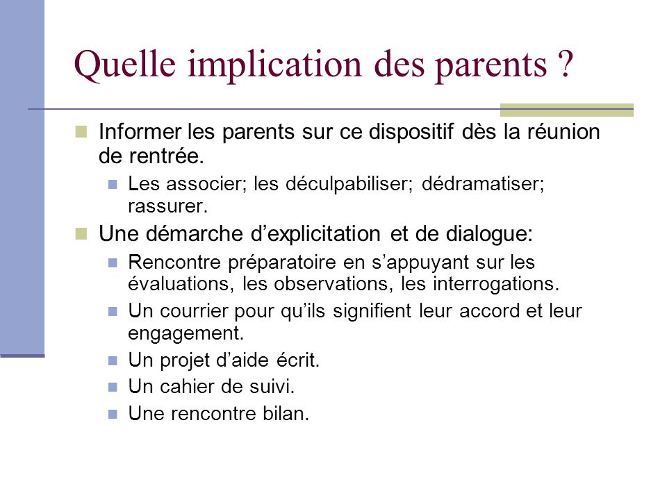Quelle implication des parents