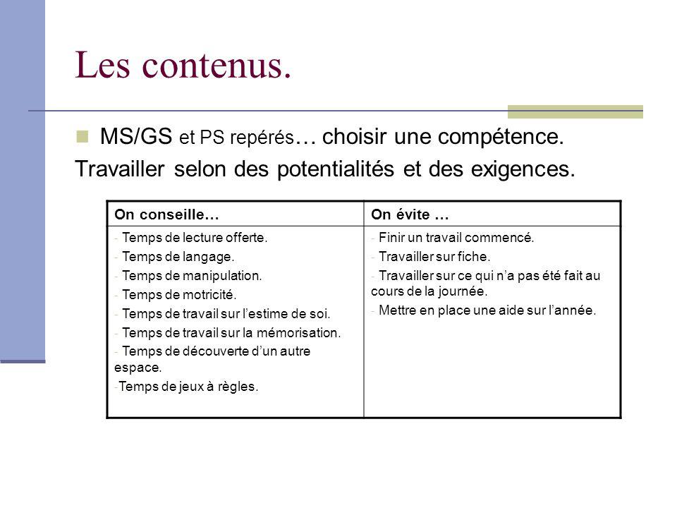 Les contenus. MS/GS et PS repérés… choisir une compétence.