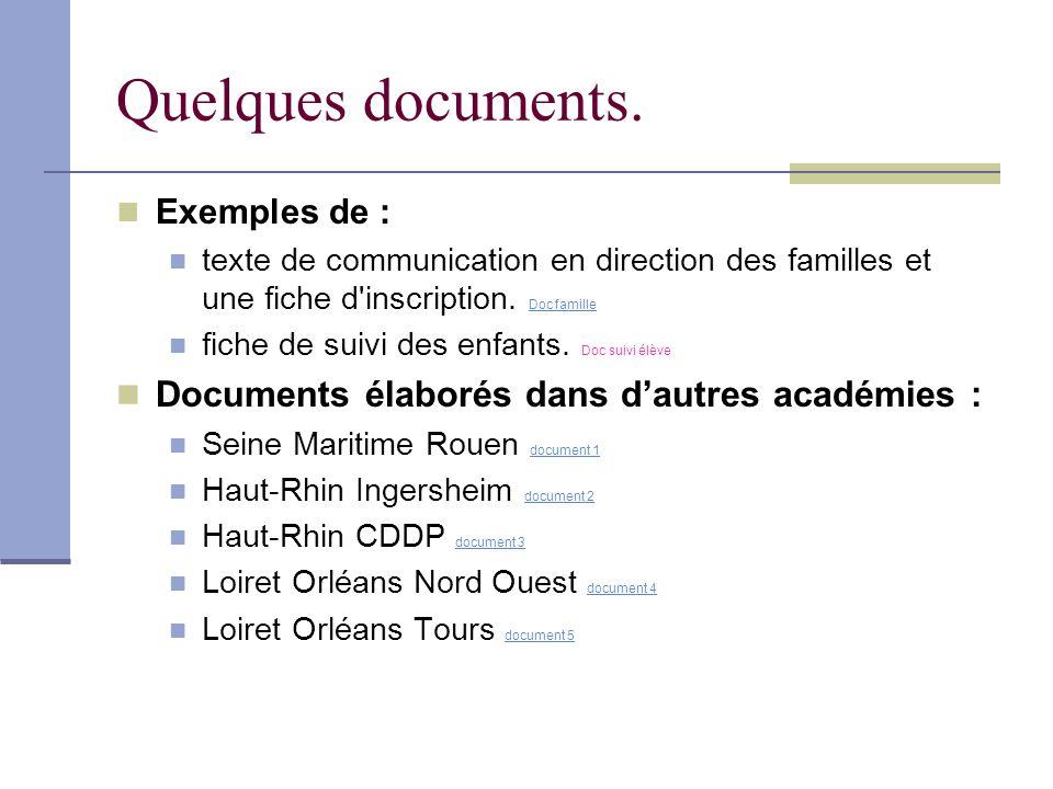 Quelques documents. Documents élaborés dans d'autres académies :