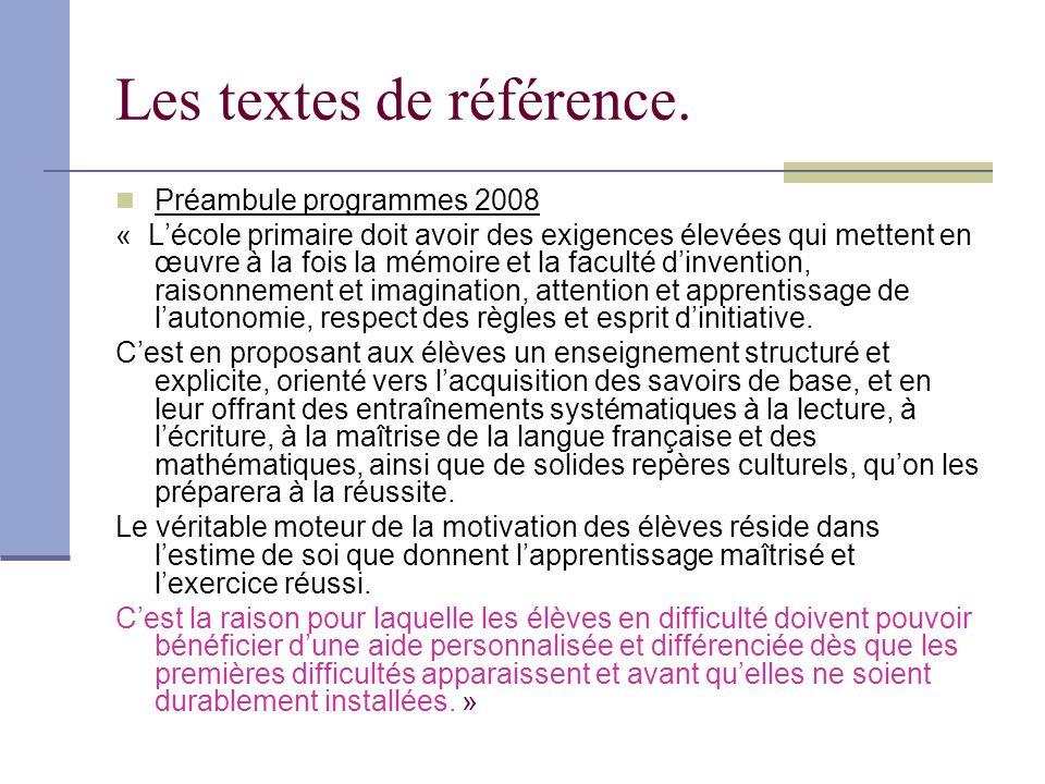 Les textes de référence.