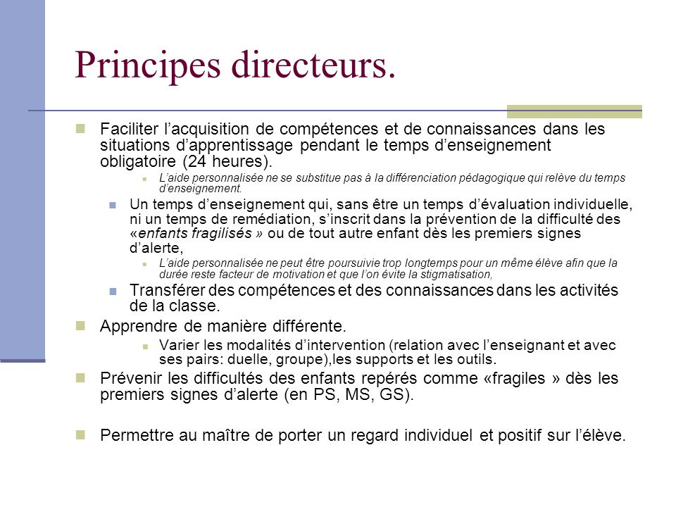 Principes directeurs.
