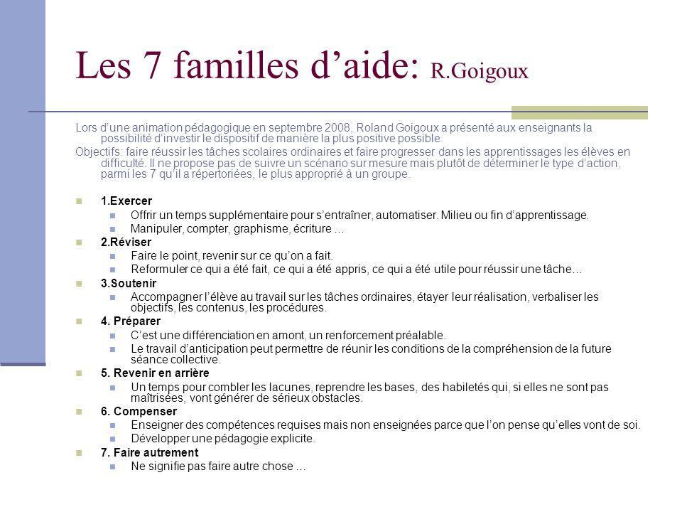 Les 7 familles d'aide: R.Goigoux