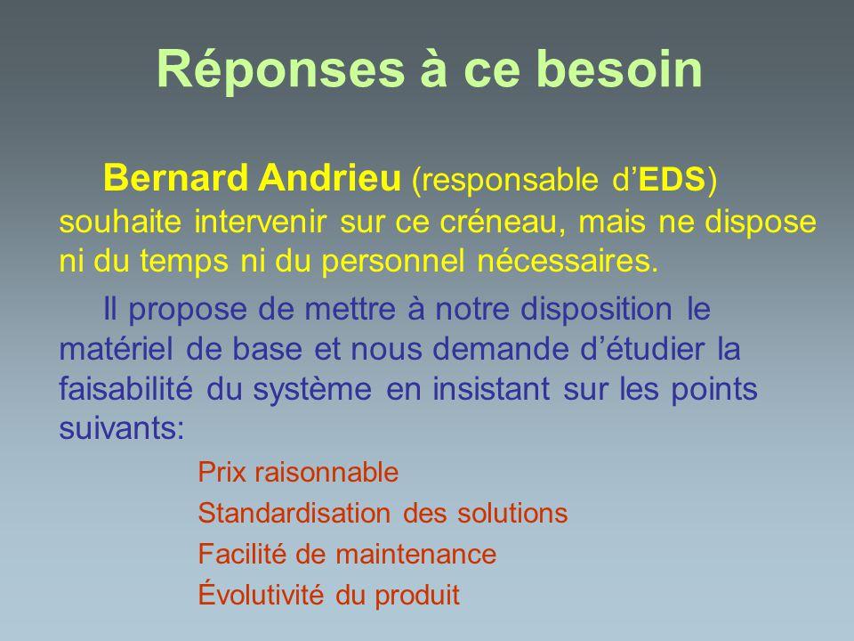 Réponses à ce besoin Bernard Andrieu (responsable d'EDS) souhaite intervenir sur ce créneau, mais ne dispose ni du temps ni du personnel nécessaires.