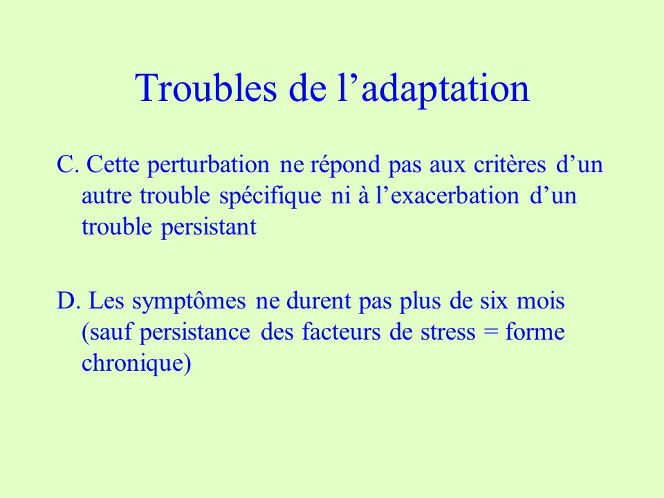 Troubles de l'adaptation