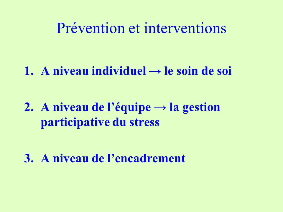 Prévention et interventions