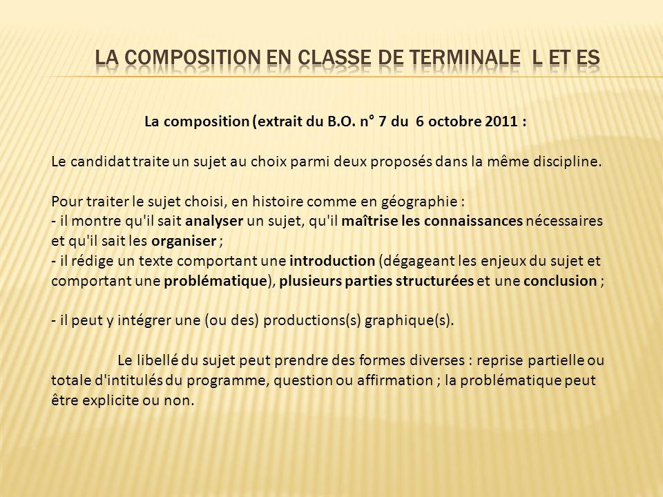 LA COMPOSITION EN CLASSE DE TERMINALE L et ES